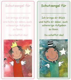 Schutzengelkarten und Glücksbringer für Klassenarbeiten und andere Gelegenheiten. Kleine Glücksbringer für Mädchen und Jungs in der Grundschule.