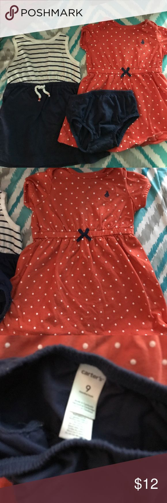 CARTERS NAUTICAL NAVY&ORANGE 12 month 2 dress set NO FLAWS, Excellent used condition! Washed with dreft, gentle, hung dry)Please ask questions, bundle for discounts, and make offers! If your offer isn't what I had in mine, I'll just send you counteroffer.  CHECK OUT MY CLOSET FOR WOMEN, MEN, AND CHILDREN CLOTHES; with name brands Such as VICTORIA SECRET - PINK  GUESS MICHAEL KORS COACH CHARLOTTE RUSSE(REFUGE) WET SEAL VOLCOM GYMBOREE DKNY EXPRESS CARTERS OSHKOSH MILEY CYRUS LOFT AMERICAN…
