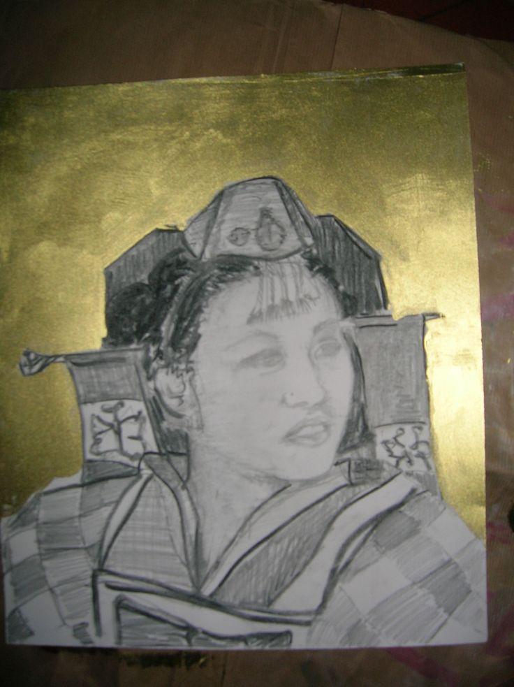 disegno su cartoncino fondo oro -Giorgia