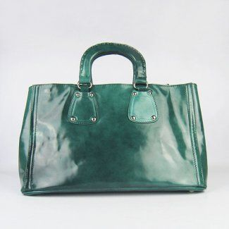 Prada Spazzolato Patent Leather Tote 1850 Dark Green #Prada ...