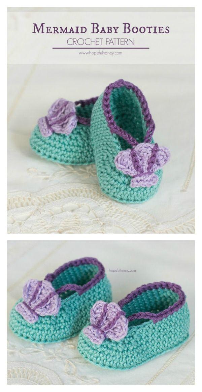 Crochet Mermaid Baby Booties Free Pattern