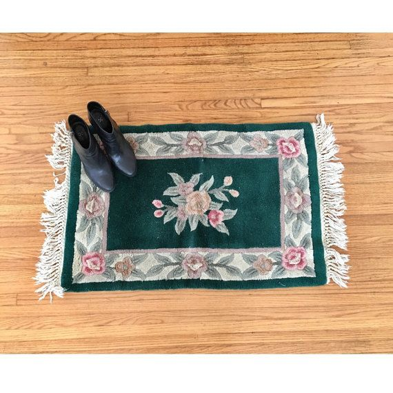 Vintage Floral Rug  Small Bath Mat Rug  Green by BlackwellVintage