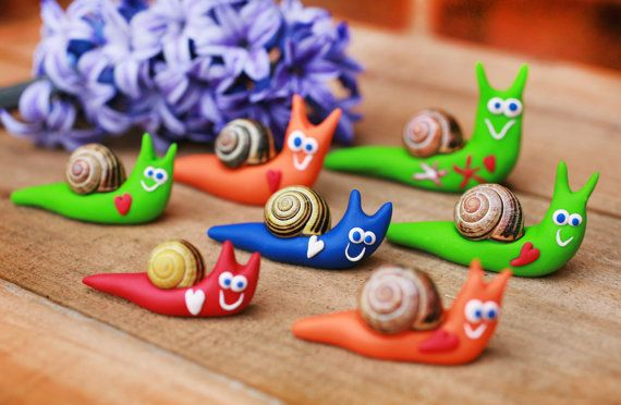 Happy snail Summer decoration Polymer clay by handmadeBYmamas