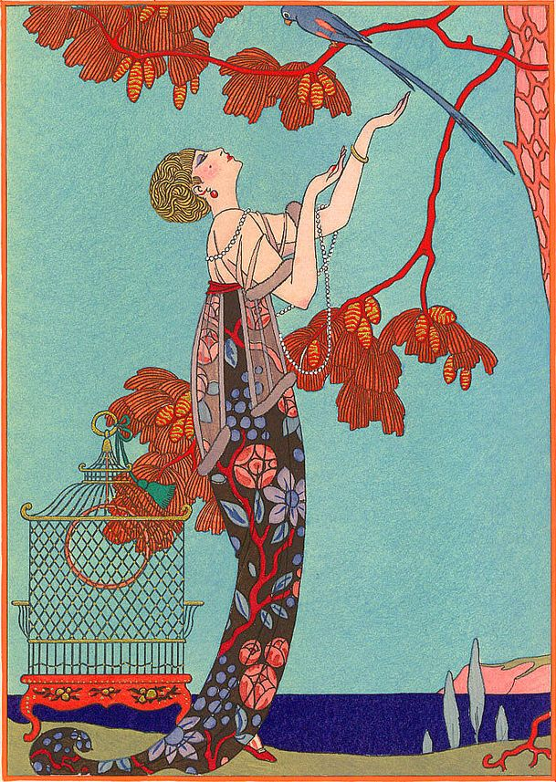 L'oiseau Volage by Georges Barbier    Barbier was quintessential nouveau and this piece has a stunning color palette.
