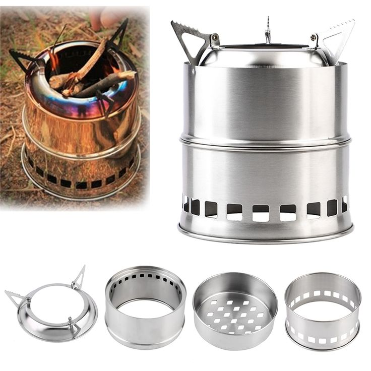 Outdoor Portable Wood Stove Backpacking Survival Wood Burning Camping Stove Stainless Steel Lightweight Pocket stove #Affiliate