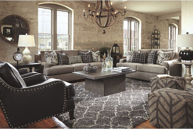 Perfectly Tailored Charcoal Gray Living Room Furniture Sets and Laylanne Black Leather Chair