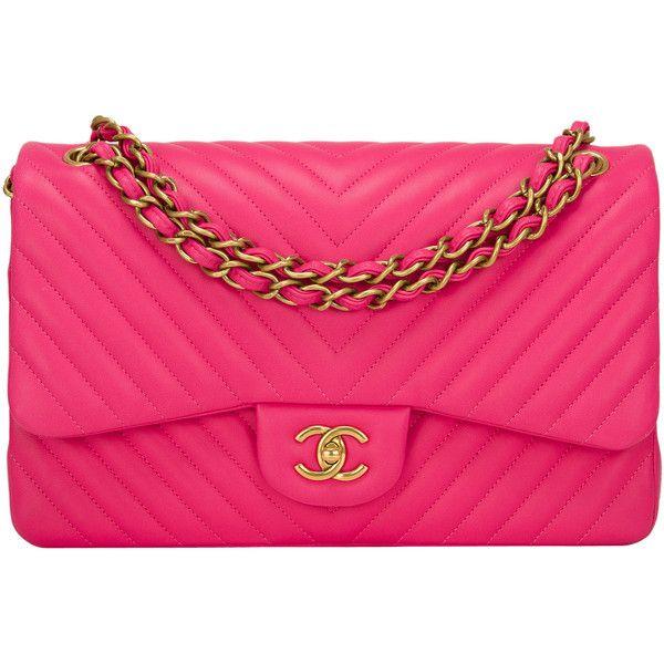 Pre-Owned Chanel Fuchsia Chevron Jumbo Classic Double Flap Bag (62.985 NOK) ❤ liked on Polyvore featuring bags, handbags, chanel, purses, bolsas, borse, pink, quilted purse, handbags & purses and preowned handbags