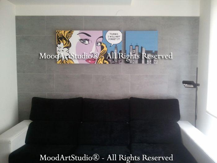 Cuadro personalizado comic. Nos encanta como ha quedado! os dejamos el link de la version estandar en blanco y negro: http://www.moodartstudio.es/es/cuadros-pop-art/176-cuadro-roy-lichtenstein-pop-art-chica-blanco-y-negro.html