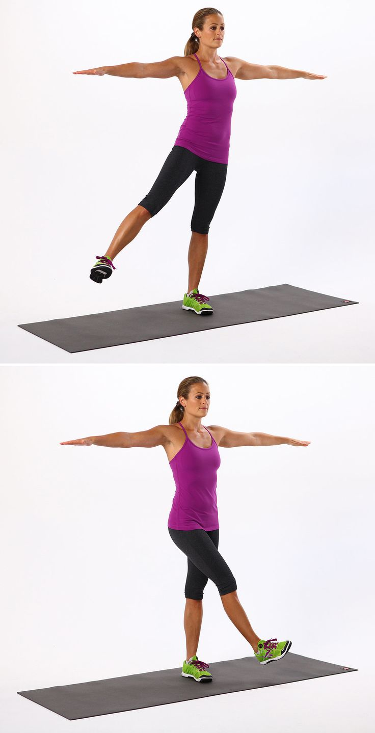 Swing the right leg in front of the left, and then swing it back out to the side.