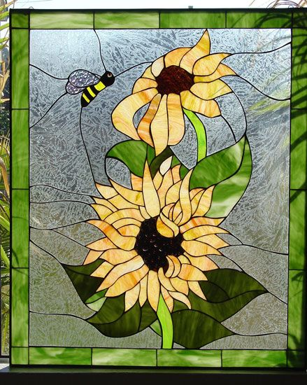 Bumble Bee & Sunflower Stained Glass Window Panel
