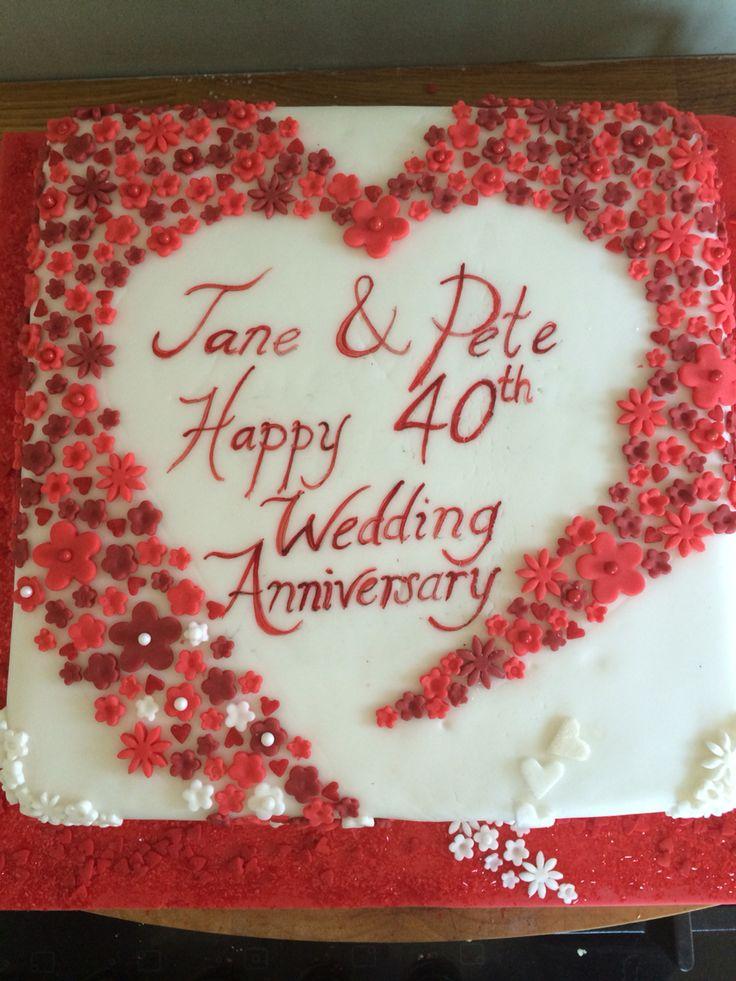 40th Wedding Anniversary Cake Ruby Wedding Hearst And