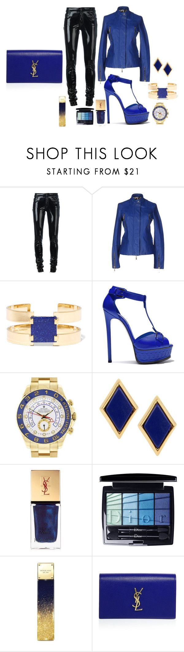 date for tonight 5 to 7 by Diva of Cake  on Polyvore featuring mode, Just Cavalli, Anthony Vaccarello, Casadei, Yves Saint Laurent, Rolex, Isabel Marant, Charm & Chain, Christian Dior and Michael Kors