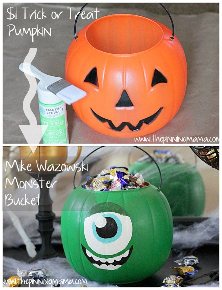 $1 pumpkin to Mike Wazowski Monsters University Trick or Treat Candy Bucket!