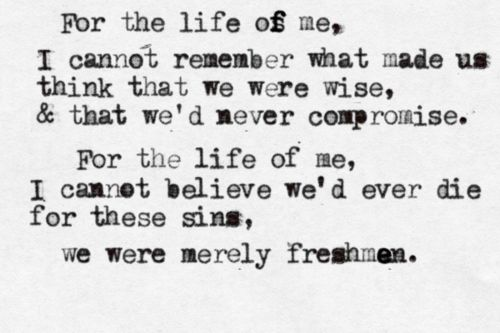 The Verve Pipe - The Freshman. Sad song but such a great singer and tune.
