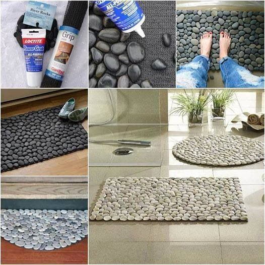 Stone mats made with kitchen cabinet liner, construction adhesive and smooth rocks such as those found in bags at the dollar stores or the hobby/floral section of big box stores like Walmart or Hobby Lobby or JoAnn Fabric.  These were made with floor use in mind, but I think they'd look great as table centerpieces.
