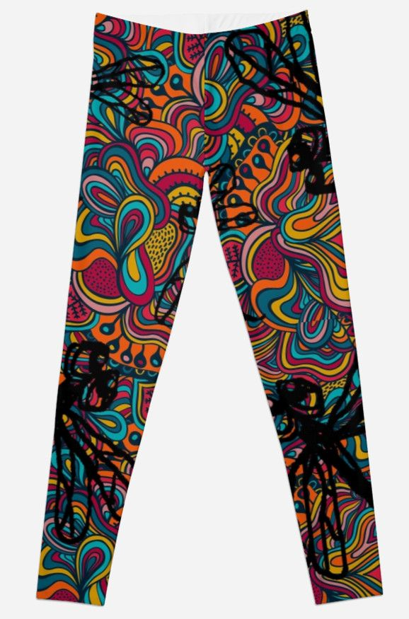 Hippy Dragonfly Flit Leggings. A funky colorful design with black dragonflies make these leggings stand out. Perfect for those who love to make a statement! Women's fashion leggings.