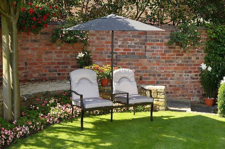 Luxury 2 Seater Garden Love Seat Bench Grey with Deep Cushions and 2m Parasol #UKGardens