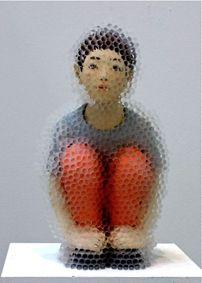 Hirofumi Fujiwara, sculpture covered with plastic tubes