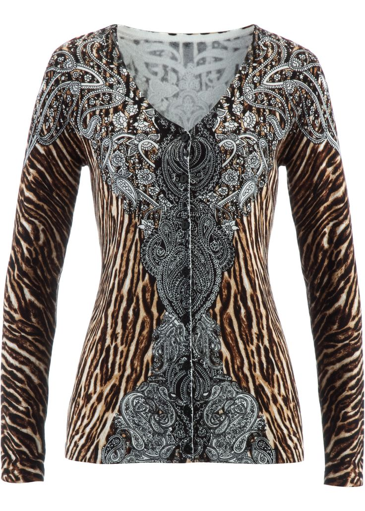 £: Cardigan, bpc selection, Marrone chiaro leopardato