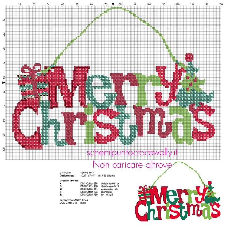 Fuoriporta natalizio con testo Buon Natale colorato schema punto croce gratis - Schemi punto croce gratis di Wally