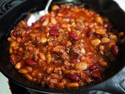 Cowboy Beans. These are the best! Use this recipe except use 53oz can of pork n beans only (w/juice); for Bbq sauce used 1/4 c hot and spicy and 1/2 c regular bbq sauce.
