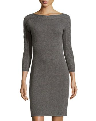 Cashmere Cable-Knit Sweater Dress, Derby Gray by Neiman Marcus at Neiman Marcus Last Call.