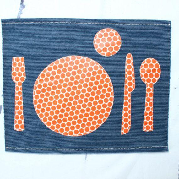 Montessori Placemat Fabric Placemat Navy & Orange Kids Place