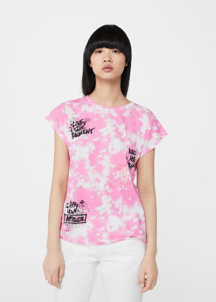 Printed tie-dye t-shirt -  Woman   MANGO Canada