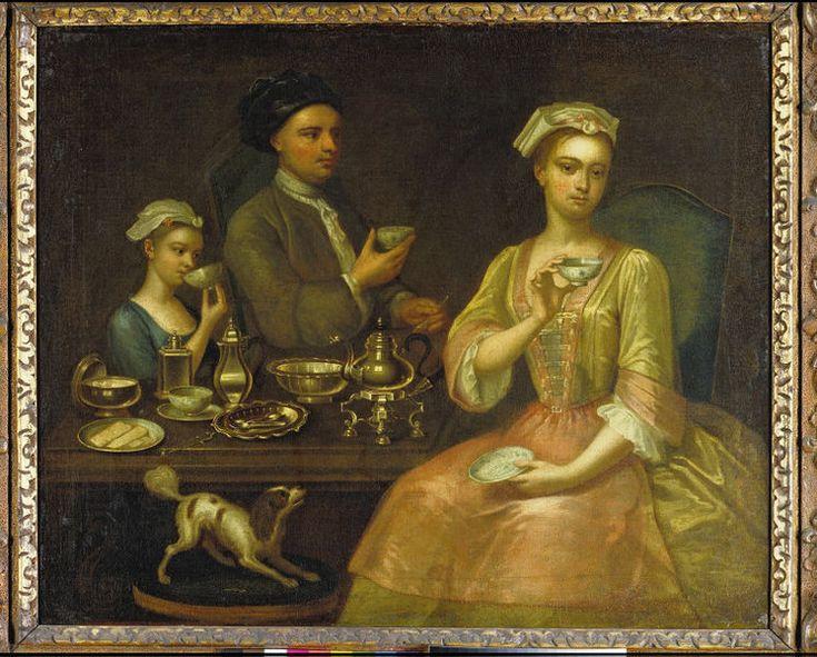 Richard Collins, A Family of Three at Tea, 1727, Oil, @vamuseum , London