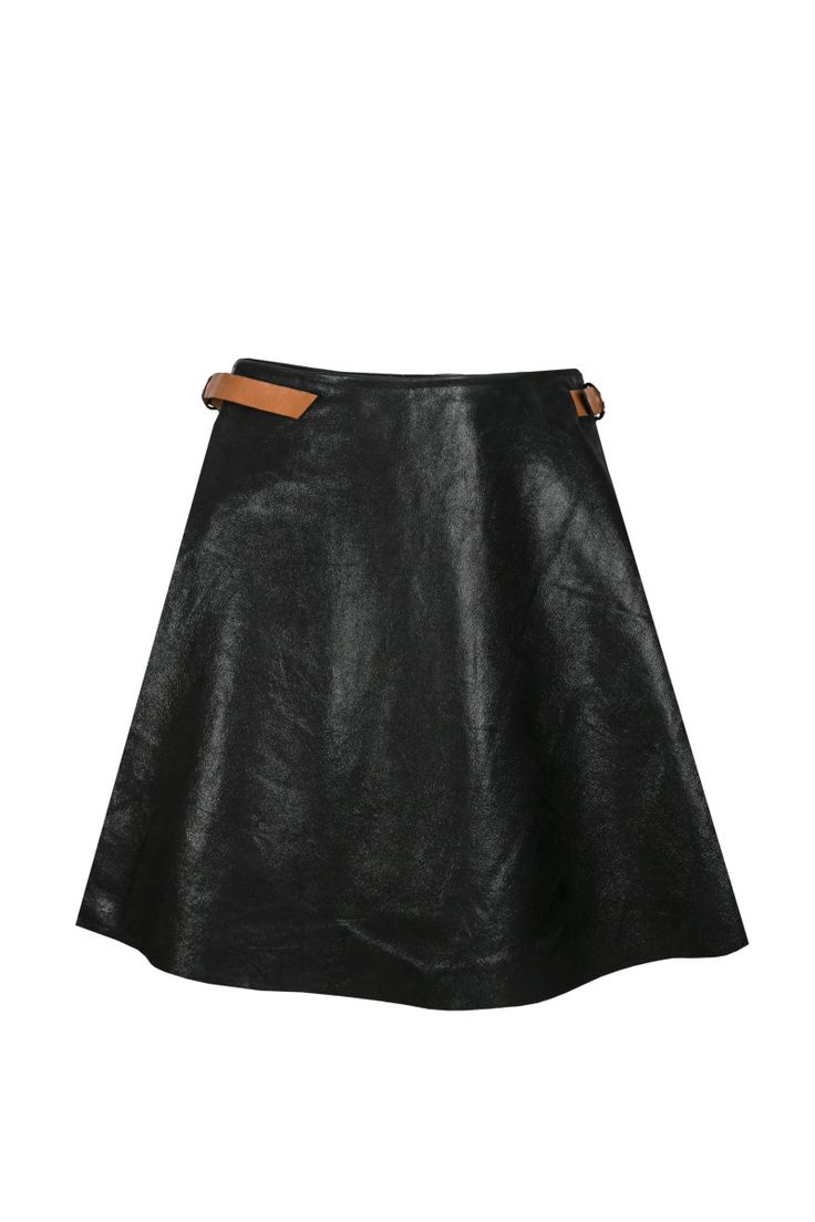 Sylwia Rochala, aw2015, Pupilla buckle caramel / black skirt (front). To download high or low resolution product images view Mondrianista.com (editorial use only).