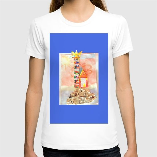 DESCRIPTION American Apparel Fine Jersey T-shirts are made with 100% fine jersey cotton combed for softness and comfort.   ABOUT THE ART Light Lighthouse, blue, painting, by Elisavet 5,5 years old