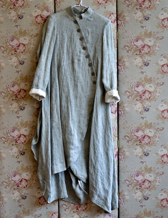 Swirly Hem Linen Coat