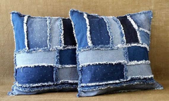 Denim Pillow Set Handmade with Recycled Soft Multi Colored Blue Jean Denim in a Random Patchwork Pattern, Fringe Edges and an Envelope Backs