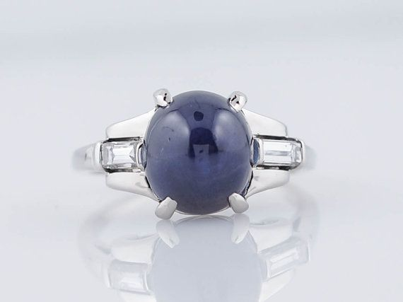 Antique Engagement Ring Art Deco 5.54ct Blue by FiligreeJewelers