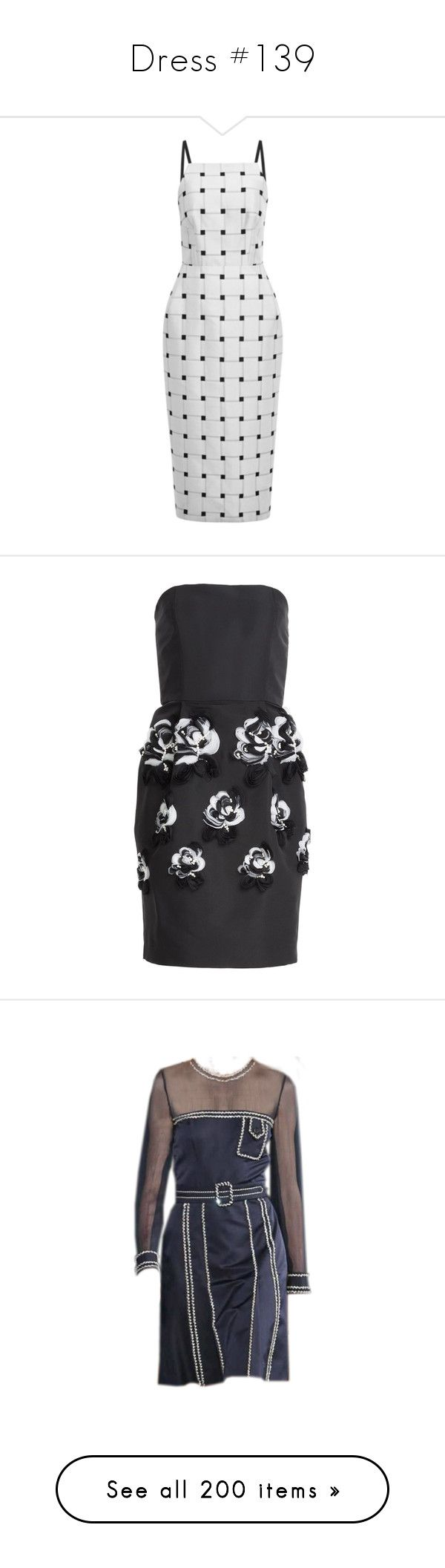 """""""Dress #139"""" by bliznec-anna ❤ liked on Polyvore featuring dresses, vestidos, josh goot dress, white black dress, jacquard dress, black and white body con dress, black white bodycon dress, prabal gurung, black and form fitting dresses"""