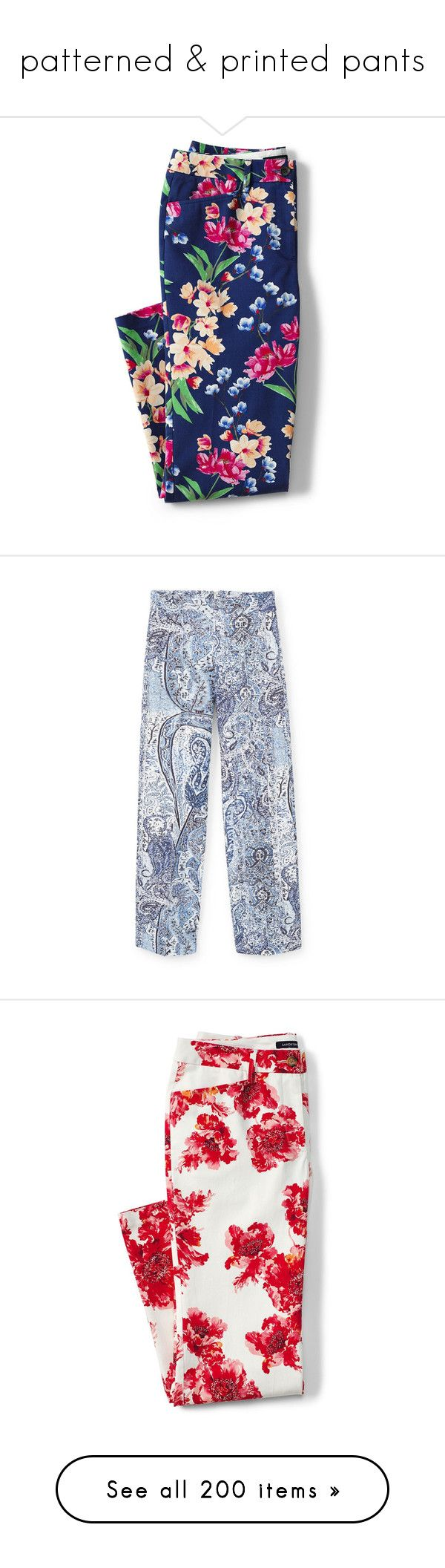 """""""patterned & printed pants"""" by bonadea007 ❤ liked on Polyvore featuring pants, capris, trousers, mid rise pants, cropped pants, stretch trousers, blue pants, petite trousers, print pants and patterned flare pants"""
