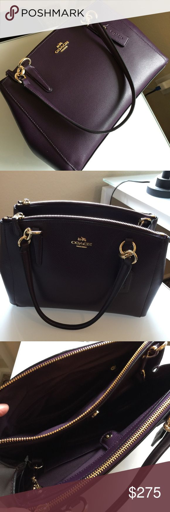"Coach NWT Christie Carryall Purple Coach Christie carryall Satchel Purple  $395' f36637 IMAuberine Leather gold hardware  Shoulder strap 22"" 12 x 9 x 3.5 Love Love this bag 1st picture actual color Coach Bags Satchels"