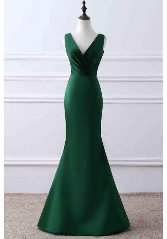 Dark Green V-neck Long Mermaid Prom Dresses