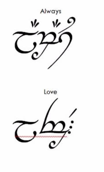 Abecedario de letras elficas para tatuajes de frases