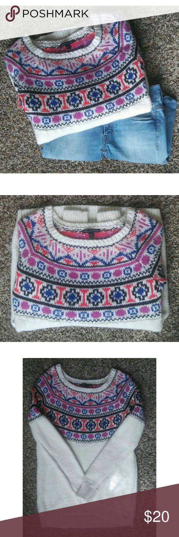American Eagle Outfitters Tribal Print Sweater Brand: American Eagle Outfitters Size: Small Material: 57% Cotton; 33% Acyrlic; 10%Polyester  This sweater is perfect for the chilly season, its a size small and can fit all sizes up to at least a medium. This sweater is made for comfort as well as style so it will fit slightly bigger on a size XS or S but that's how its been made to complete your look!  No blemishes no defects.  Since it is made mostly of cotton, it easily attracts lint- a lint…