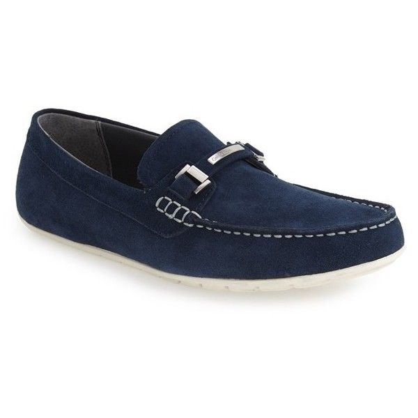 Calvin Klein 'Ignacio' Driving Loafer (14415 RSD) ❤ liked on Polyvore featuring men's fashion, men's shoes, men's loafers, dark navy, mens leather driving shoes, mens slipon shoes, mens driver shoes, mens leather slip on shoes and mens shoes