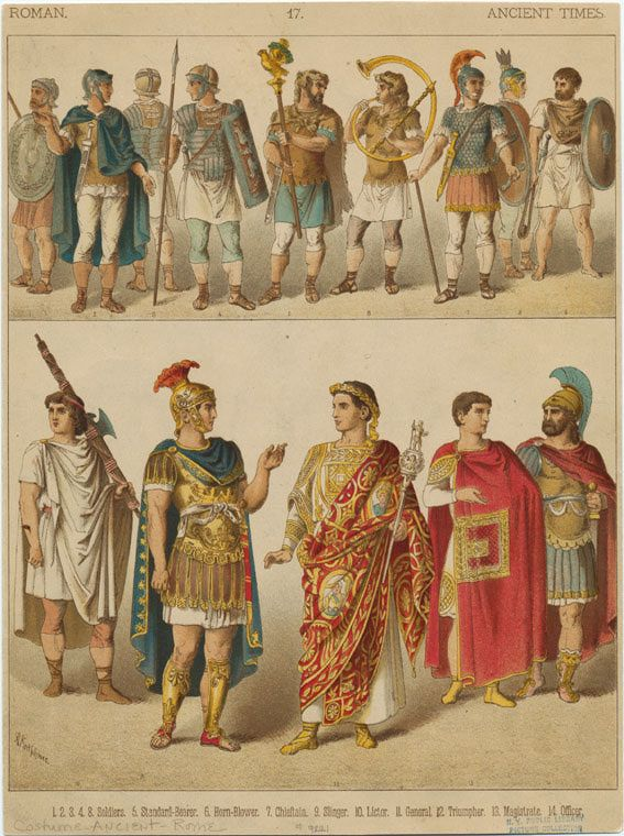 Some examples of different clothing in early ancient Rome