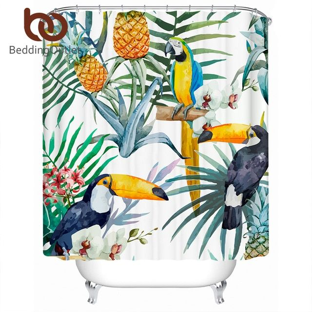Beddingoutlet Toucan Shower Curtain Flower Polyester Waterproof