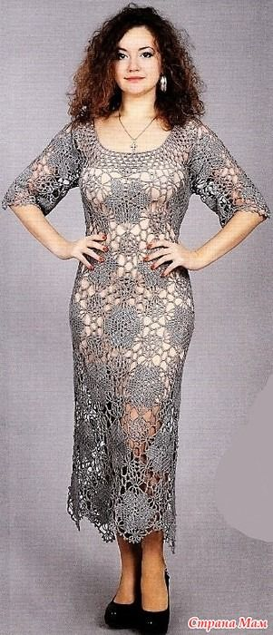 Очень нарядное и элегантное платье выполненно из круглых цветочных мотивов соединенных сеткой. Вяжем крючком 119 (11) 2016