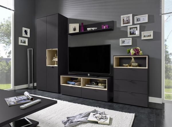 Arte-M Chase TV unit and storage system in anthracite with light oak detail