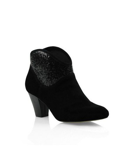Bonbons - Zimy Ankle Boot  This suede/ glitter combo will add sparkle to any cold wintery night.  Heel: 6.5cm    Leather upper, synthetic lining & sole    Was:$99.95 Now:$49.95