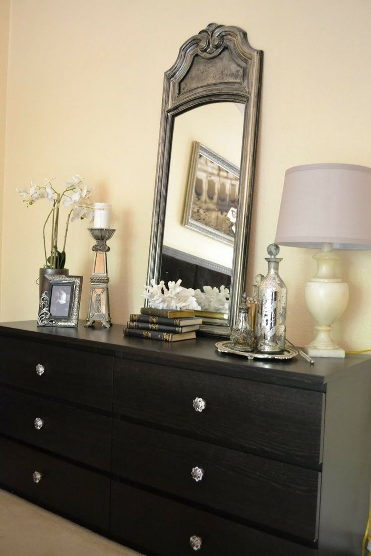 my exact dresser love the silver decor on dresser - Dresser Decor