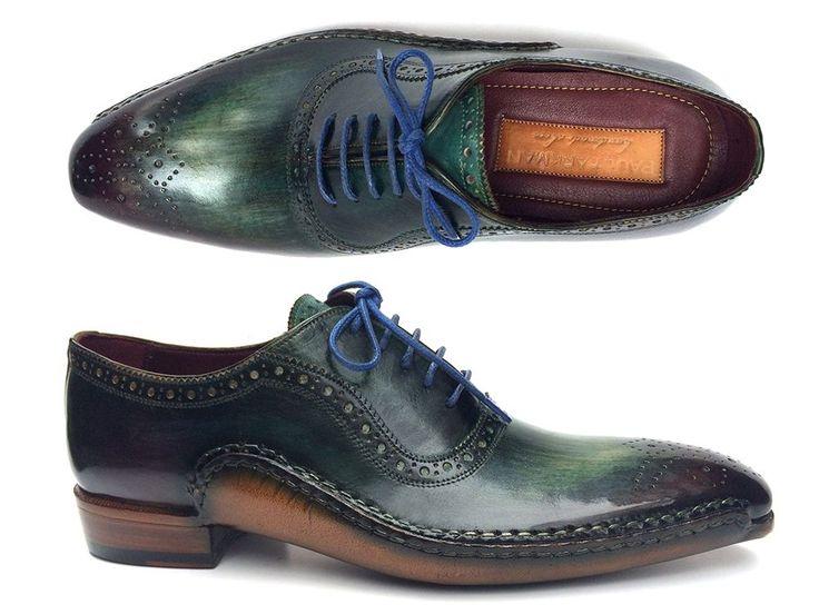 PAUL PARKMAN ® The Art of Handcrafted Men's Footwear - Paul Parkman Green & Purple Handmade Oxfords (ID#OPK215C)