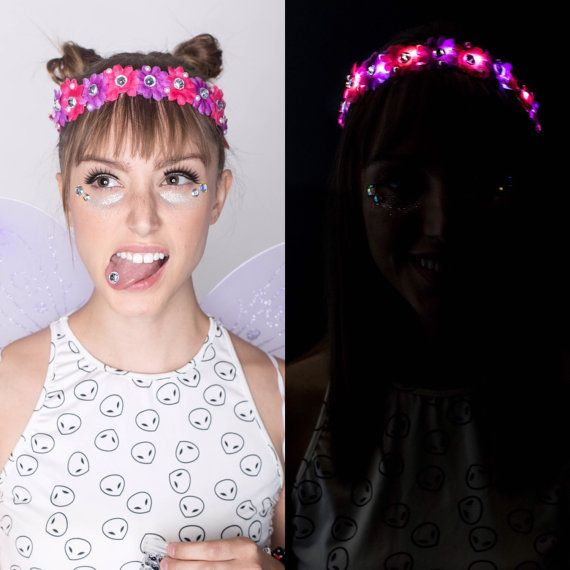 LED Cheshire Cat outfit crown LED Flower crown by HippyHeadBandz
