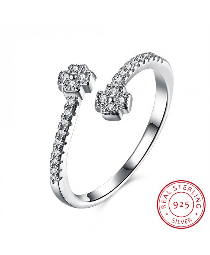 Ouruora 925 Sterling Silver Zircon Crystal Open Flower Ring